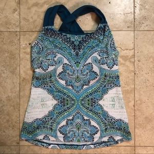 Blue & Green Patterned prAna Tank